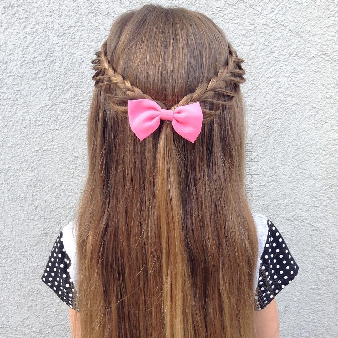 Micro Braided Half-Tie girls hairstyle